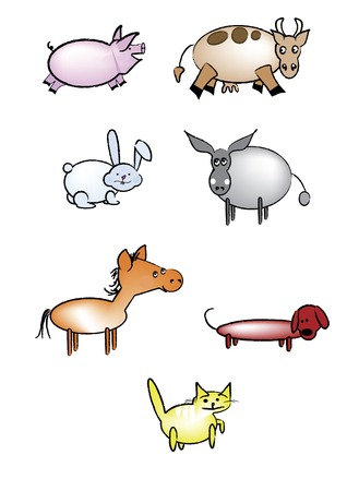different animals painted on a white background Vector