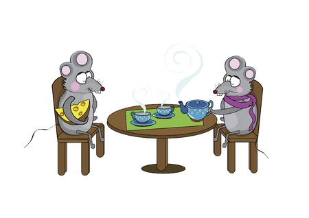 Two cute rats sit at the table and drink tea  Vector
