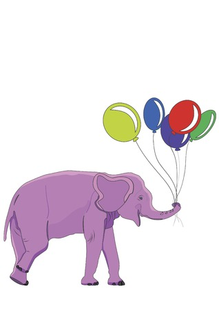 cute pink elephant has a colorful balloons Vector
