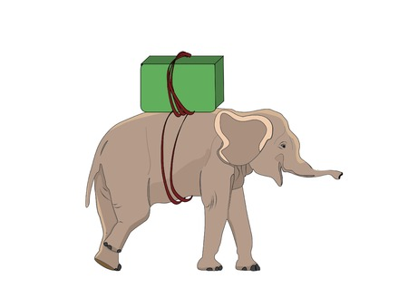 cute elephant puller on his back the goods Vector