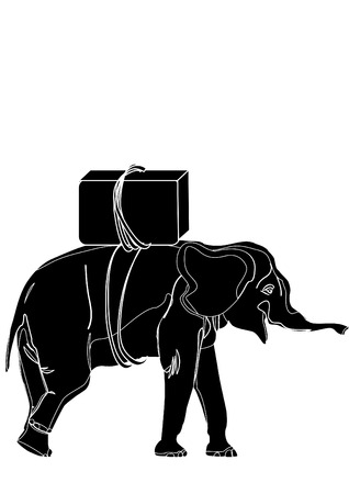 herbivorous animals: black white elephant with the load on his back