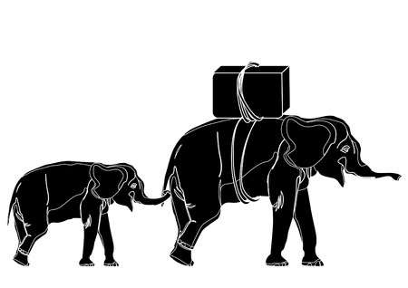 small elephant keeps mum over the tail. These travelers Vector