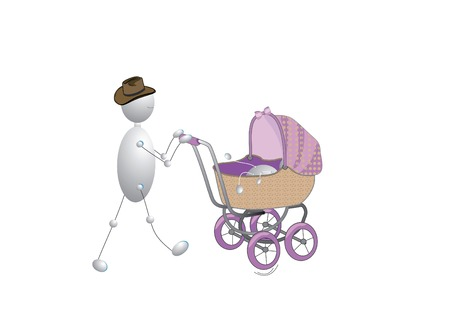 outdoor goods: Dad walks with his small daughter in a wheel chair