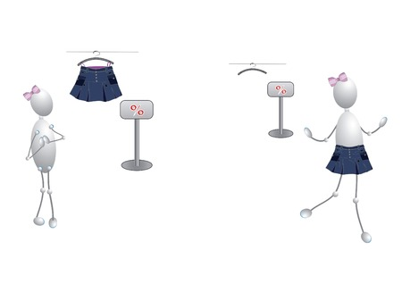 She saw a beautiful skirt in the discount Vector