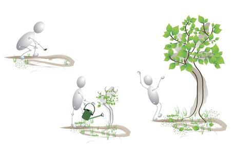 them: piantato i semi, cura per loro e crebbe un grande albero  Vettoriali