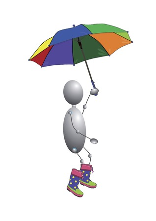 man in boots and umbrella in their hands Vector