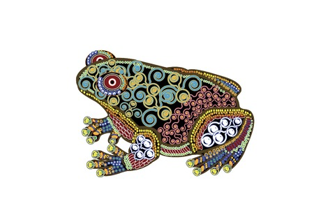 beautiful frog in the ethnic style on a white background Illustration