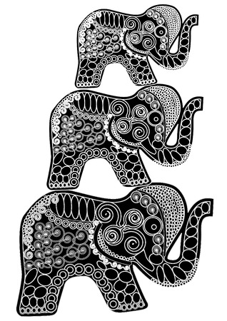 indian ink: Three elephants on their backs to each other in ethnic style