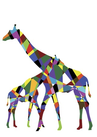 Two of the giraffe are colored triangles on a white background
