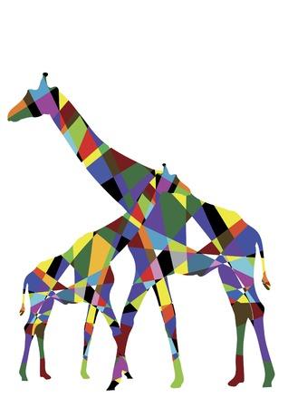 Dos de la jirafa son los triángulos de color sobre fondo blanco