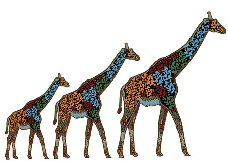 three ethnic giraffe is a symbol of protection Stock Vector - 5042908