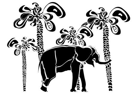 elephant and palm trees make up a nice pattern in the style of Ethnic Vector