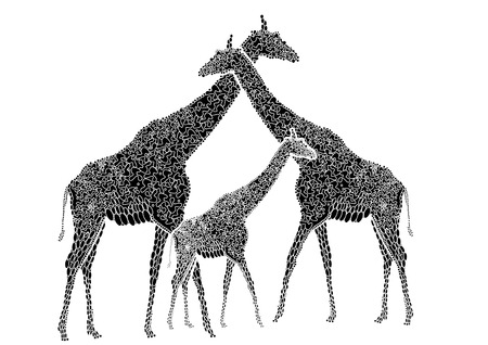 Three giraffe in the ethnic style stand on a white background Vector