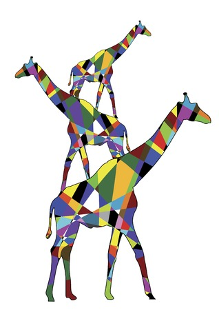 Three colored giraffe standing on each other Vector