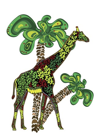 Giraffe and palm trees in ethnic style Vector