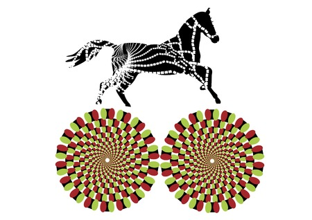 runs: patterned horse runs in a circle, creating the effect of motion