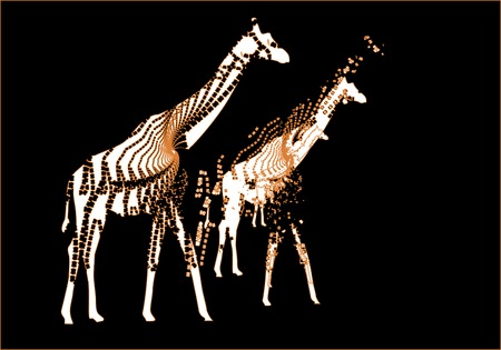 giraffes on black background create a beautiful abstraction Stock Vector - 5089119