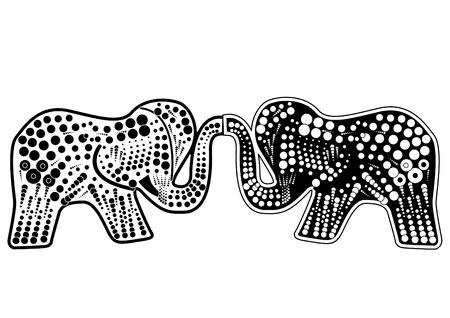 elefante blanco y negro simboliza la felicidad conyugal Foto de archivo - 5099864