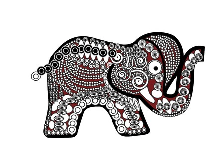 red patterned elephant in the ethnic style on a white background Vector