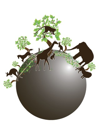 plants and various animals on the planet Vector
