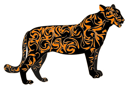 Tiger in the designs, characters coming year Vector