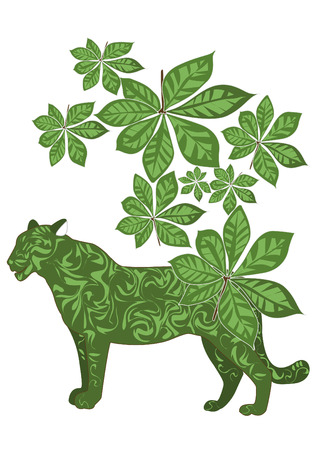 green leaves and tiger design created a composition of nature Stock Vector - 5160061