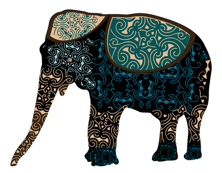 dyed: big elephant in the traditional Indian designs Illustration