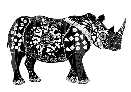 rhino vector: patterned ethnic animal is a good character in different religions