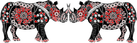 excellent pattern with rhino-style ethnic  Illustration