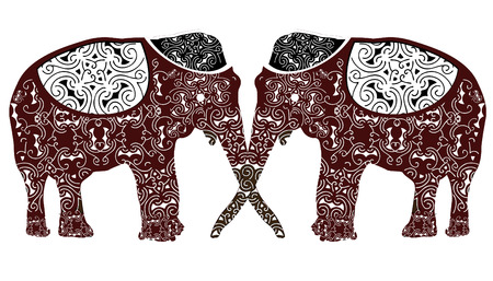 facing: patterned two elephants facing each other constitute the ethnic pattern Illustration
