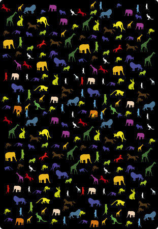 black background with images of wild animals Vector