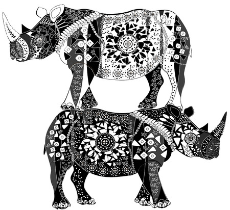 two ethnic patterned rhinos represent beautiful pyramid Illustration