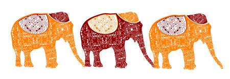 motif indiens: �l�phants traditionnels repr�sentent le mod�le indien magnifique