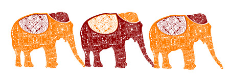 tusk: traditional elephants make up the beautiful Indian pattern