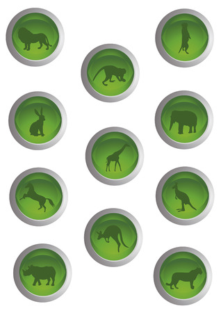 eleven stylish green icons depicting various wildlife Vector