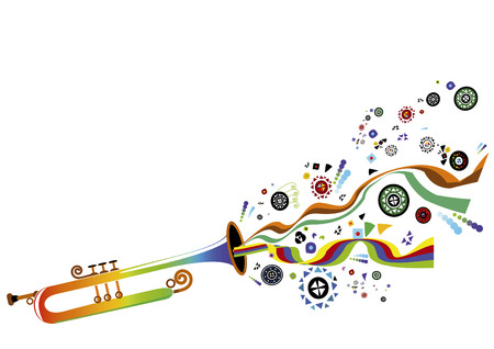musical instrument and create a cheerful bright elements of background Vector