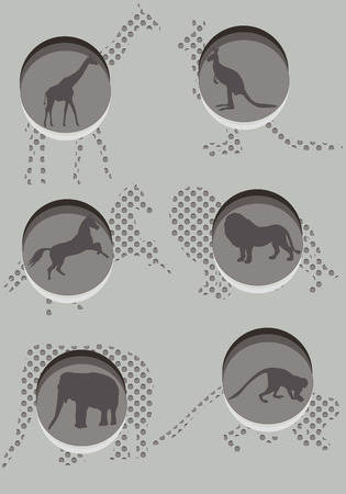 Various wild animals constitute the background of the stylish design Vector