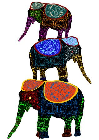 patterned elephants in the ethnic style of performing circus stunt Vector