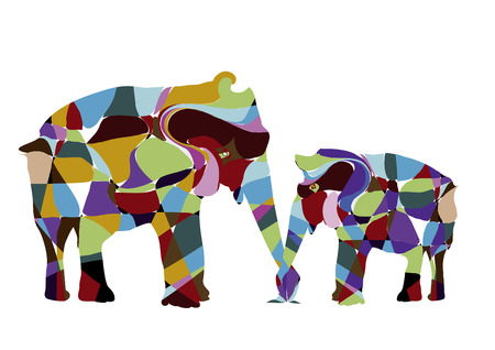 dear mother elephant cow and her young child Vector
