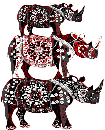 three patterned rhinoceros in ethnic style on a white background Vector