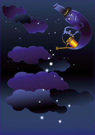 watered: night background with the moon, which is watered stars