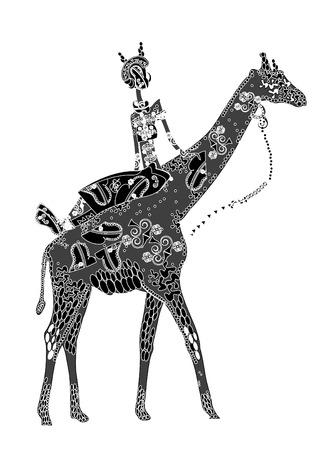 idzie: Dziewczyna z deseniem wraca do żyrafa w stylu etniczne