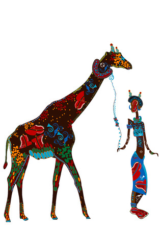 patterned girl walks with her pet in ethnic style