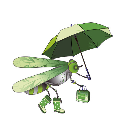 modern fly in boots, with a bag and umbrella Vector