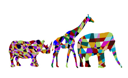 colorful abstract wild animals on a white background