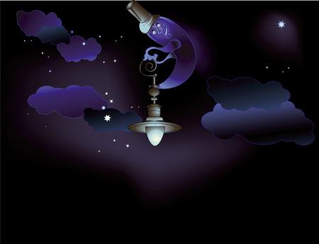 buonanotte: sfondo meraviglioso sogno che illumina la luna Vettoriali