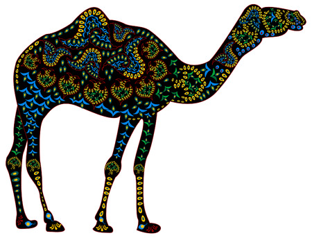 black camel color patterns in the ethnic style on a white background  イラスト・ベクター素材
