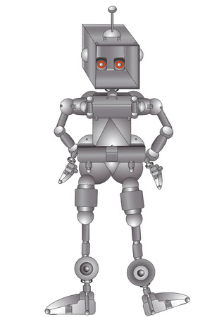 metal robot from a variety of elements on a white background Vector