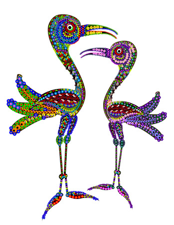 two birds: Two birds in the ethnic style on a white background