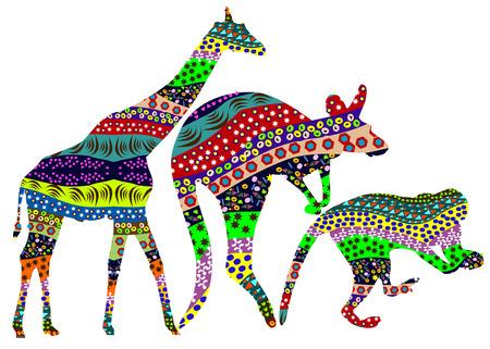 set of giraffe, monkeys and kangaroos in ethnic style Vector